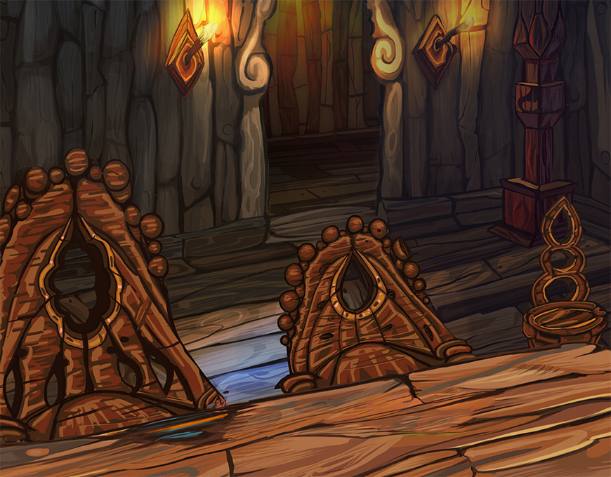 Closeup detail of chairs, the table and background elements. Coming up with concepts for the chairs was a lot of fun.