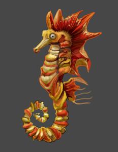 A flaming sea horse